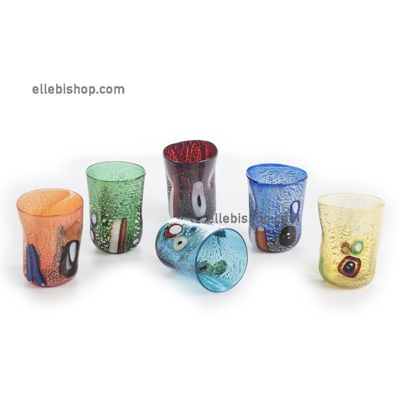 Bicchiere storico arancione intenso, verde smeraldo e rosso intenso, blu cobalto, giallo intenso e acquamarina