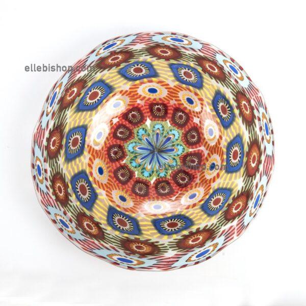 Piatto grande colori assortiti in vetro con murrine TQ