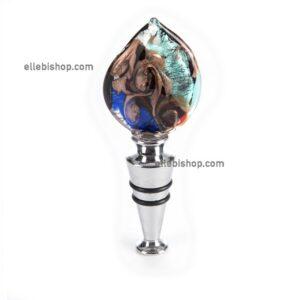 Tappo foglia blue-turchese souvenir in vetro di Murano