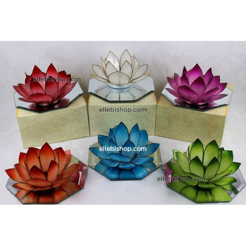 PORTA CANDELA TEA LIGHT LOTUS CON SPECCHIO